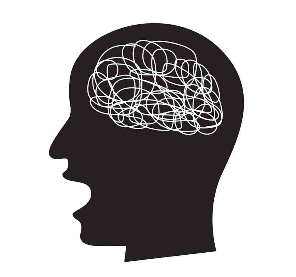 confused concept with busy brain, vector draw